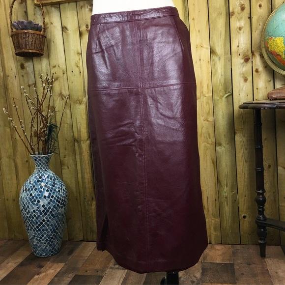 Vintage Dresses & Skirts - Vintage Burgundy Full Length Leather Pencil Skirt